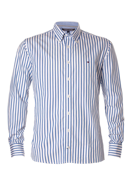 Tommy hilfiger houston stripe shirt in blue for men lyst for Tommy hilfiger fitzgerald striped shirt