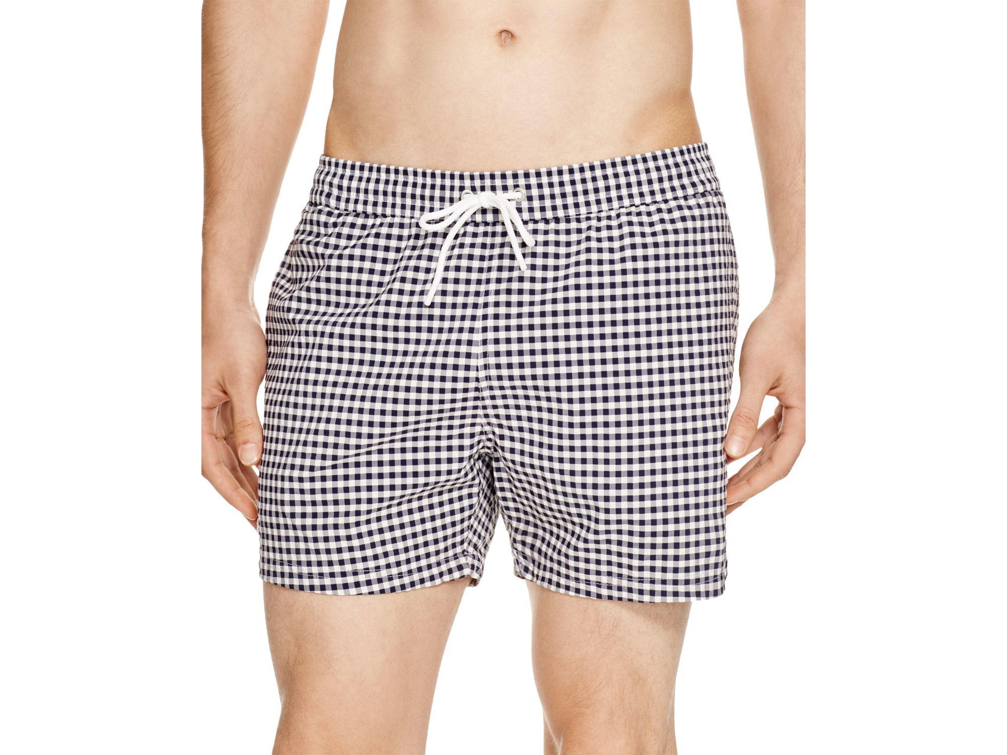 870ea7e0efd86 Lacoste Taffeta Gingham Swim Trunks in Gray for Men - Lyst