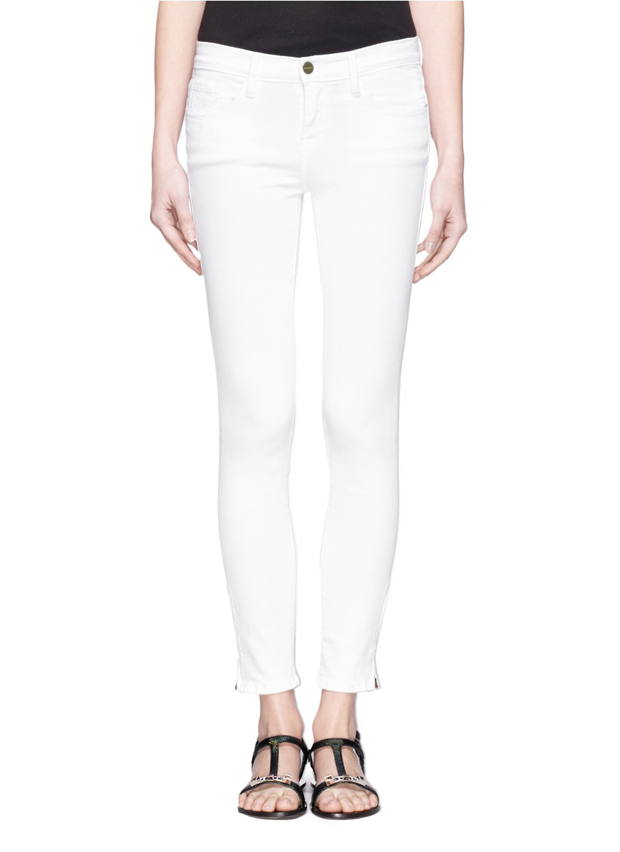 Cropped White Skinny Jeans