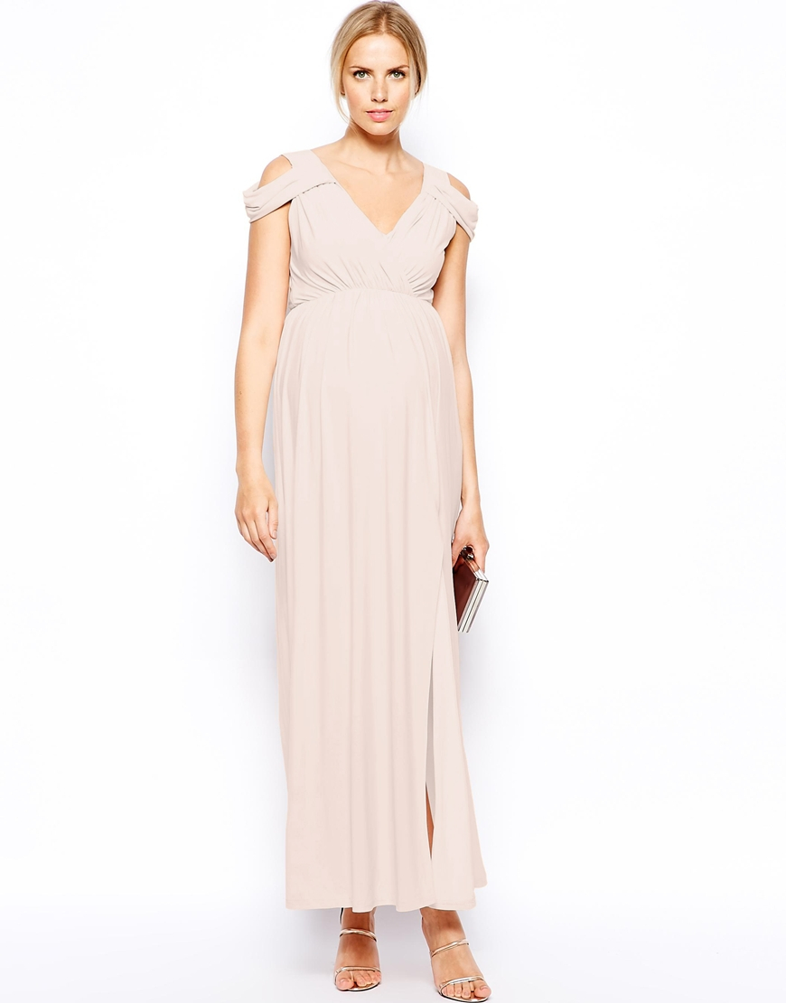 Asos maxi dress with wrap front in pink lyst be inspired ombrellifo Choice Image