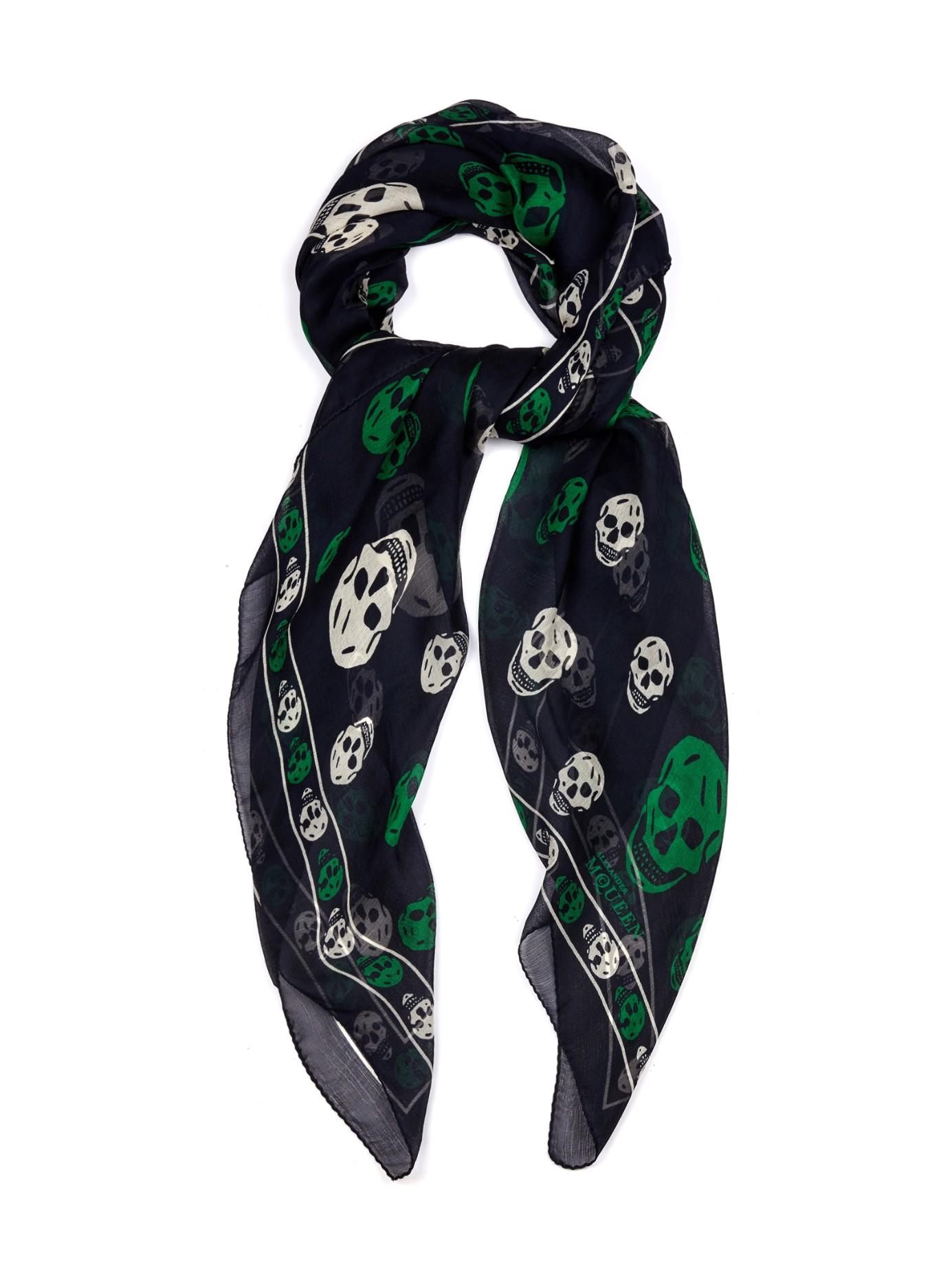 mcqueen skull print silk scarf in green lyst