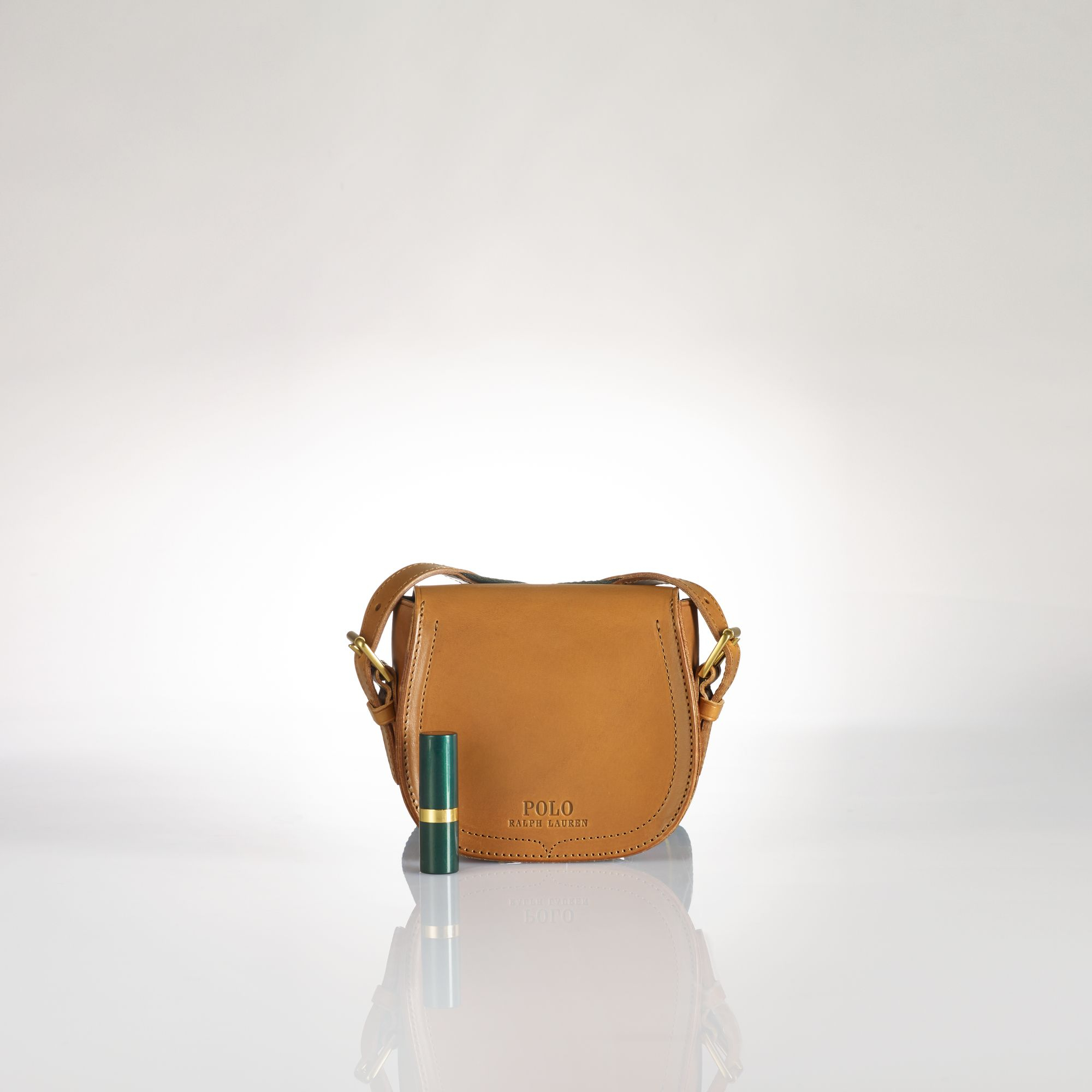 a3f86dac04cb Polo Ralph Lauren Mini Leather Saddle Bag in Brown - Lyst