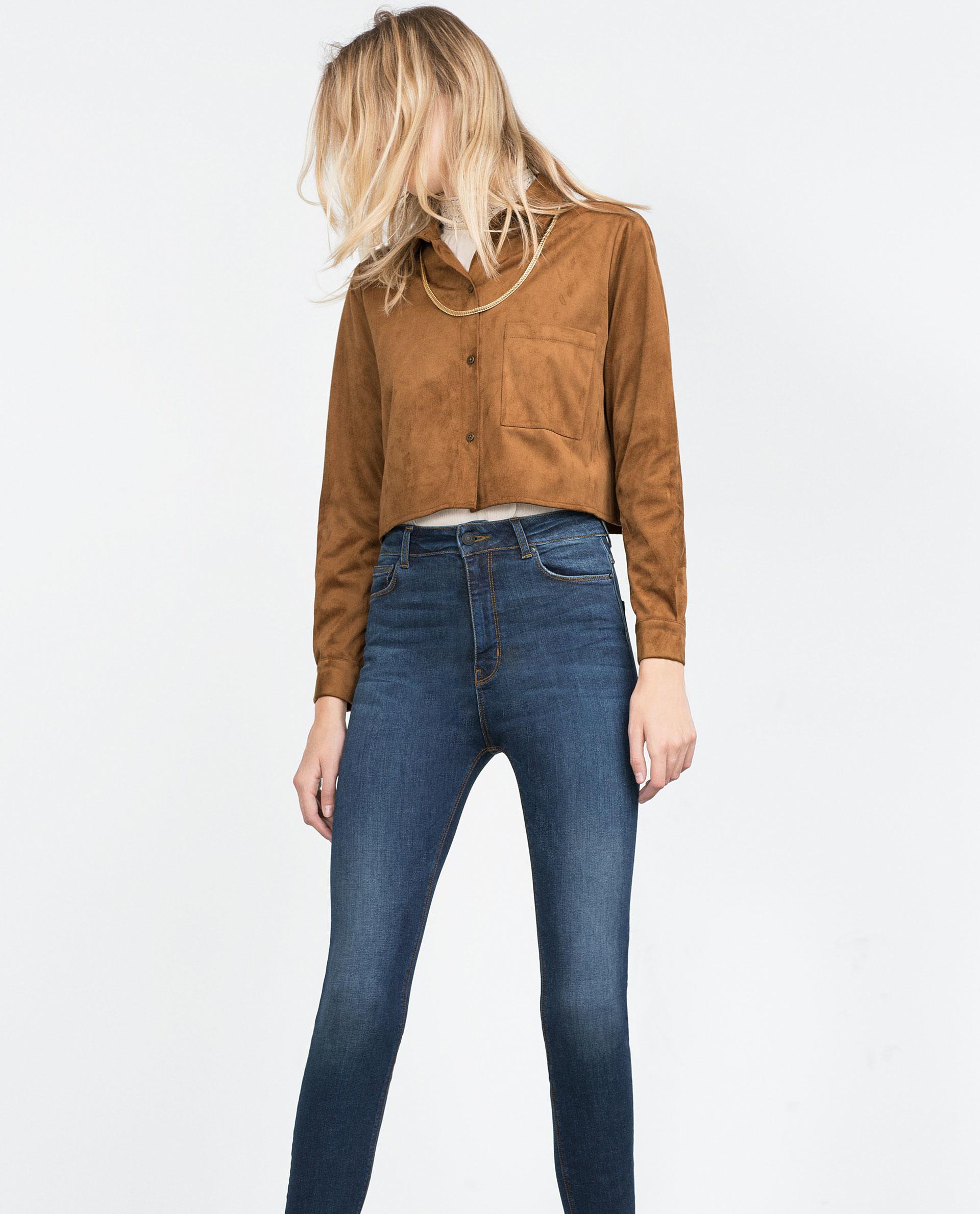 Model Zara Denim Culottes In Blue  Lyst