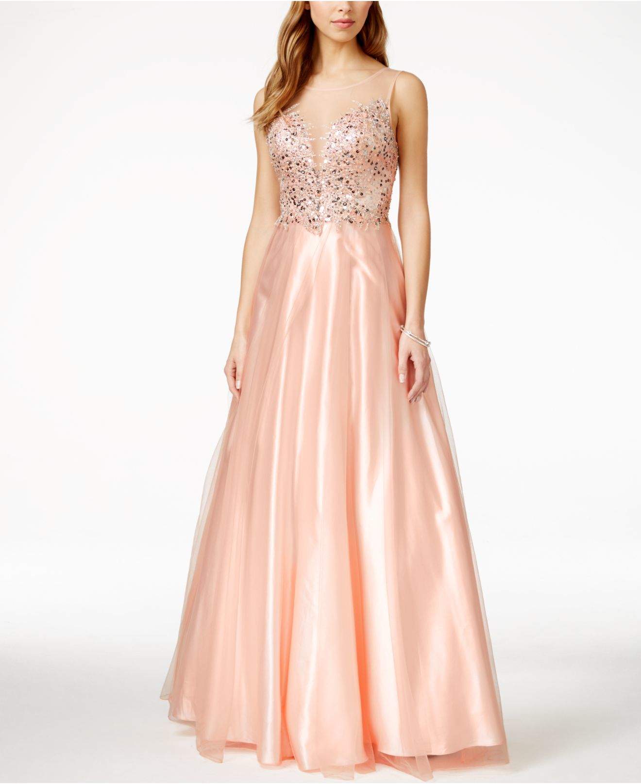 edcccfc628db Betsy & Adam Illusion Embellished Sweetheart Gown in Pink - Lyst