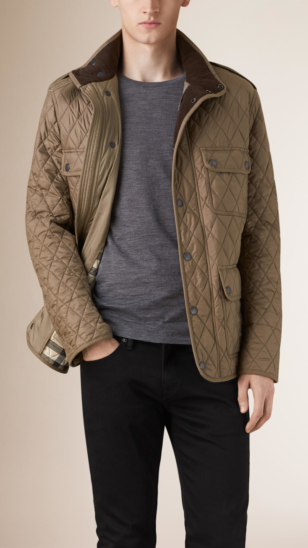 Burberry Diamond Quilted Field Jacket In Beige For Men