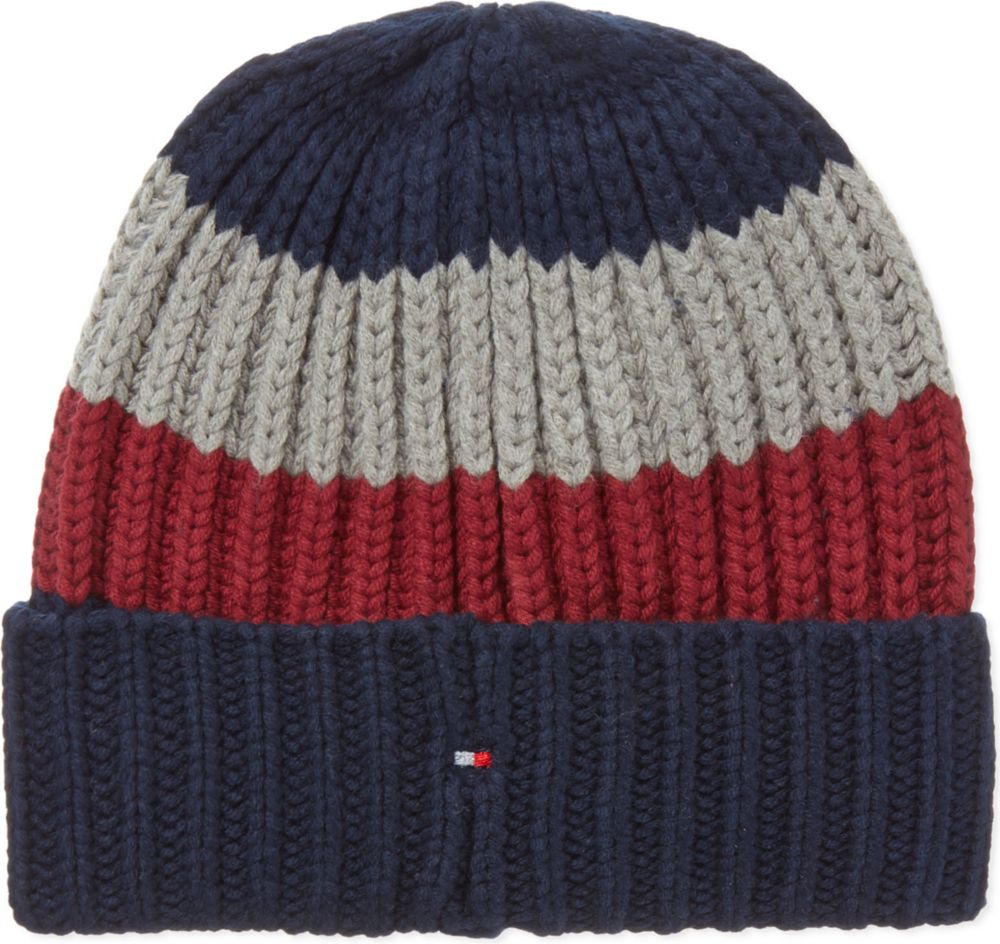 a032770b795 Tommy Hilfiger Rugby Striped Beanie in Red for Men - Lyst