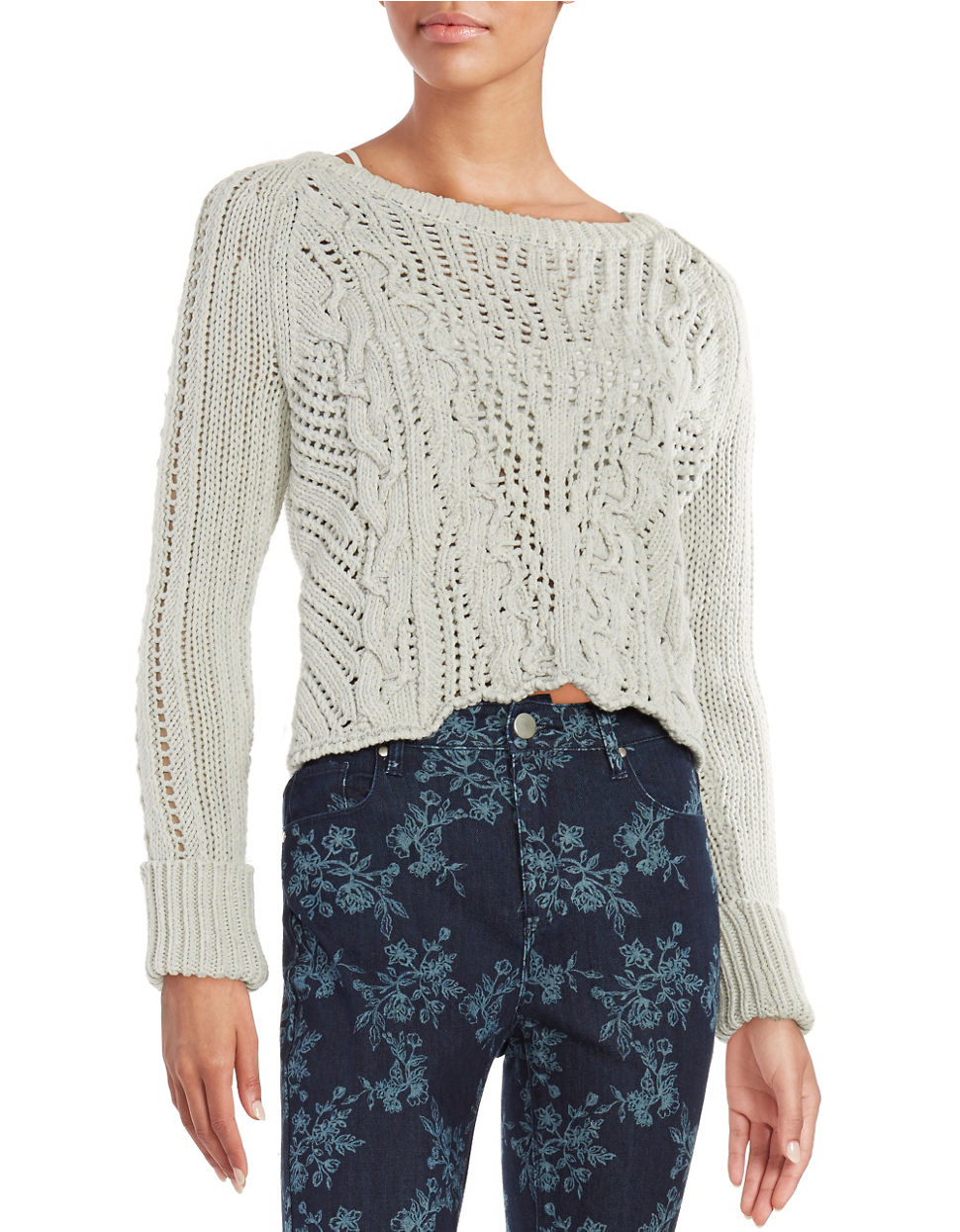 Free people Loose-knit Cropped Sweater | Lyst