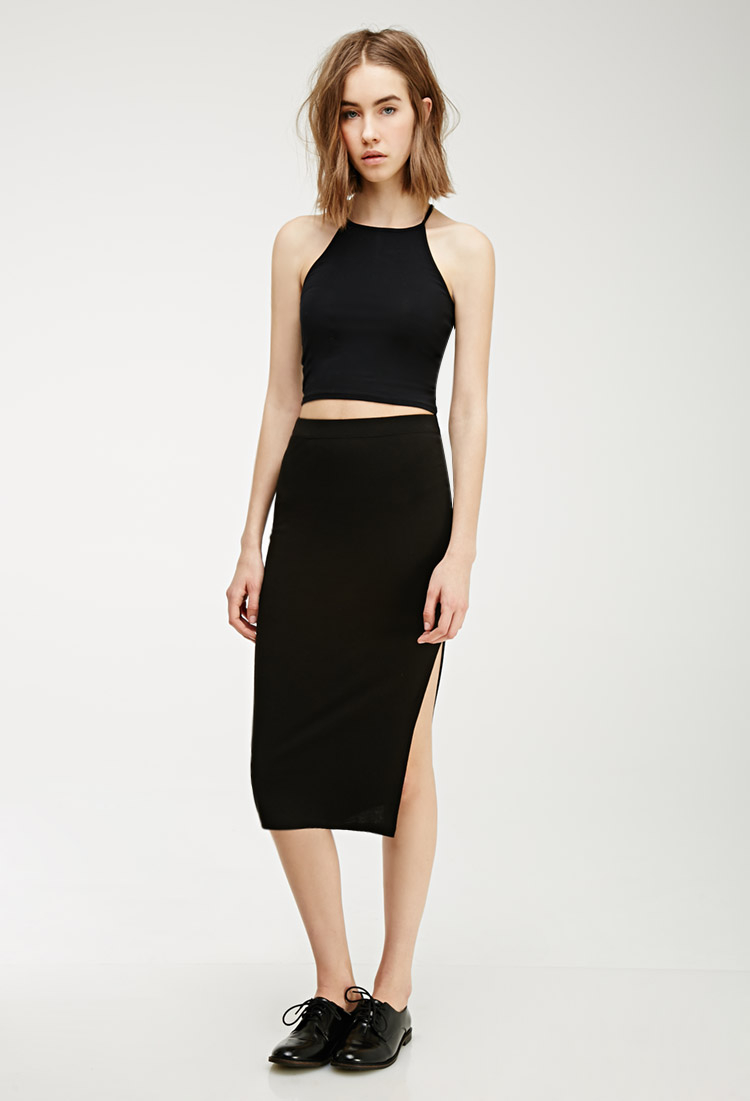 Forever 21 Slit Midi Skirt in Black | Lyst