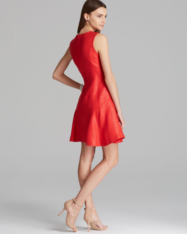 Shoshanna Dress Naama Metallic Sleeveless Tweed with Flared Skirt ...