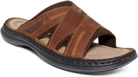 Hush Puppies Relief Slide Sandals in Brown for Men (Copper Leather