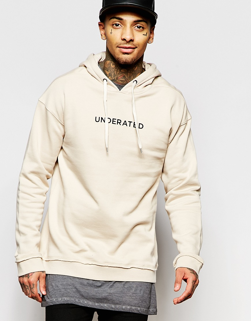 Underated Hoodie With Back Print in Natural for Men | Lyst