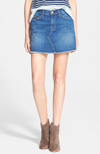 Current/elliott 'The Cut-Off Mini' Denim Skirt in Blue | Lyst