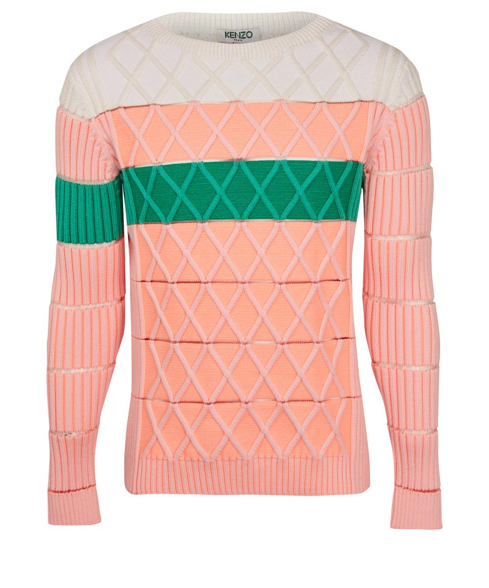 Kenzo Pink Heavy Aran Knit Mesh Jumper in Green for Men | Lyst