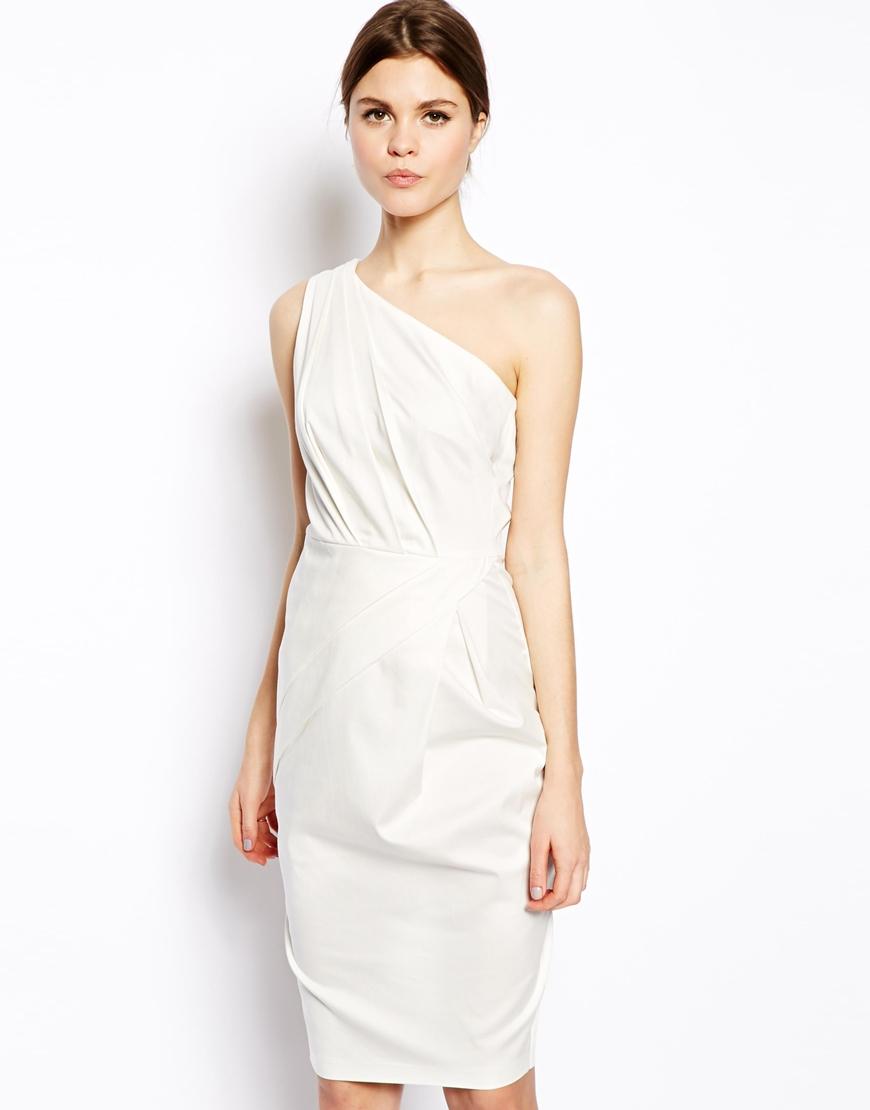 Asos Folded One Shoulder Dress in White - Lyst