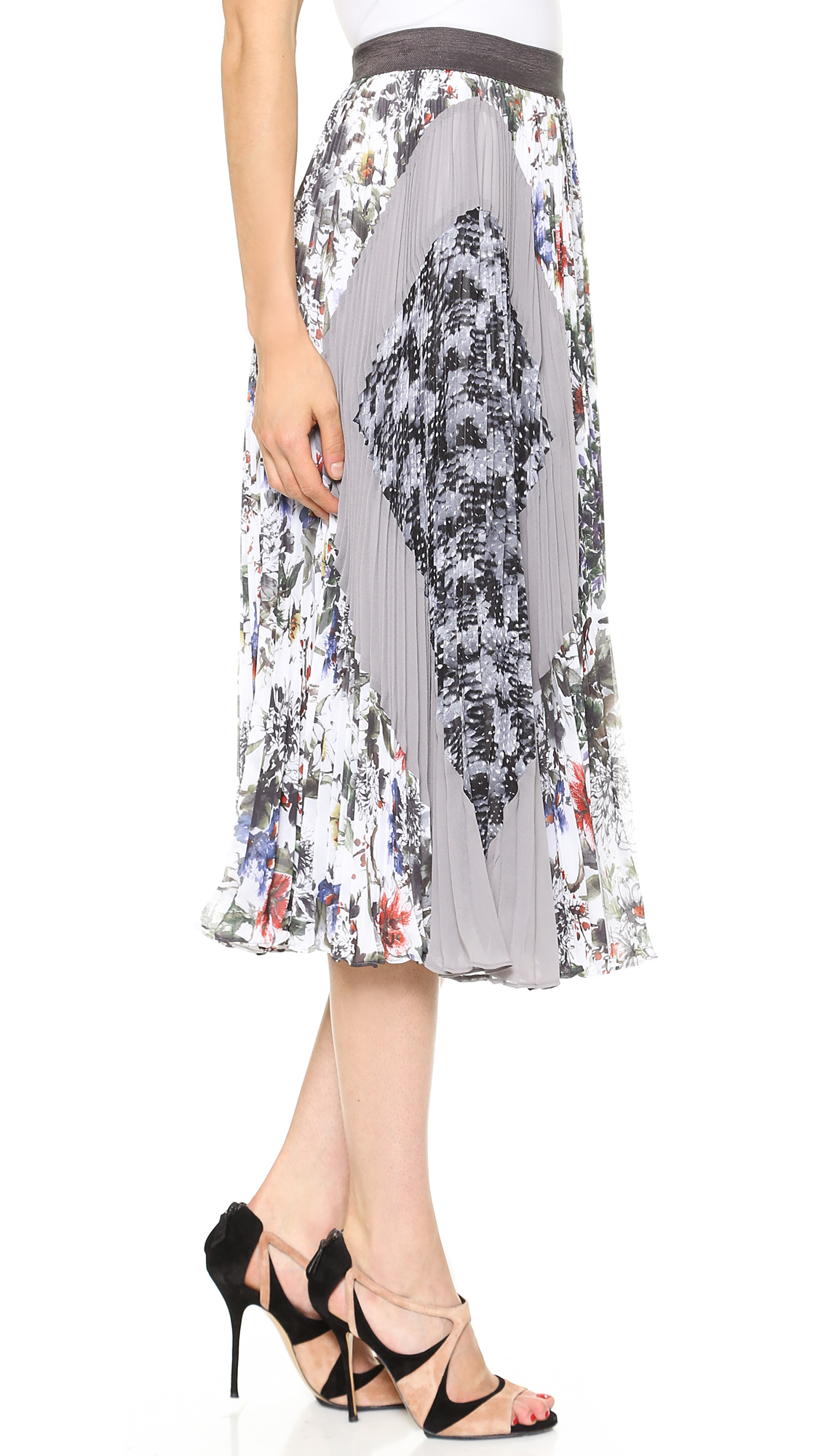 grey gardens pleated midi skirt in