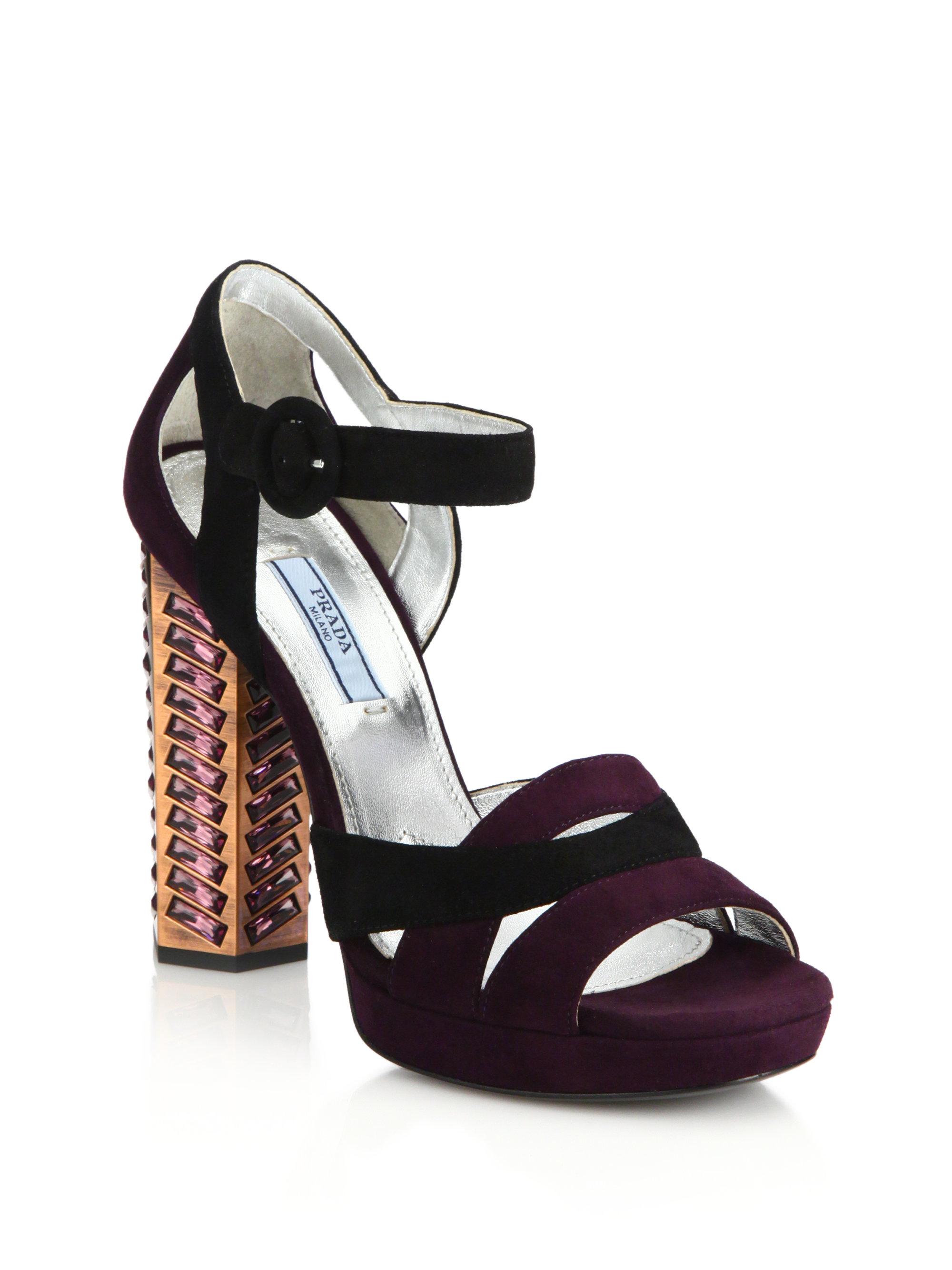 Lyst Prada Jeweled Suede Sandals In Purple