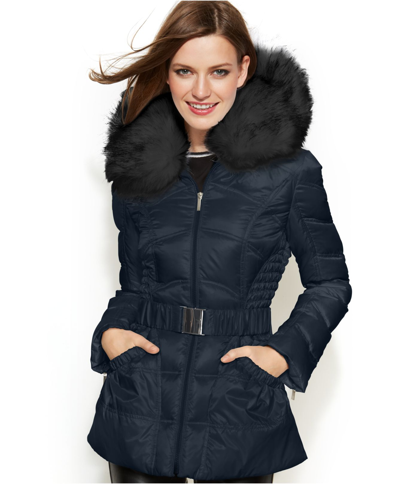Laundry By Shelli Segal Faux Fur Hooded Belted Down Puffer