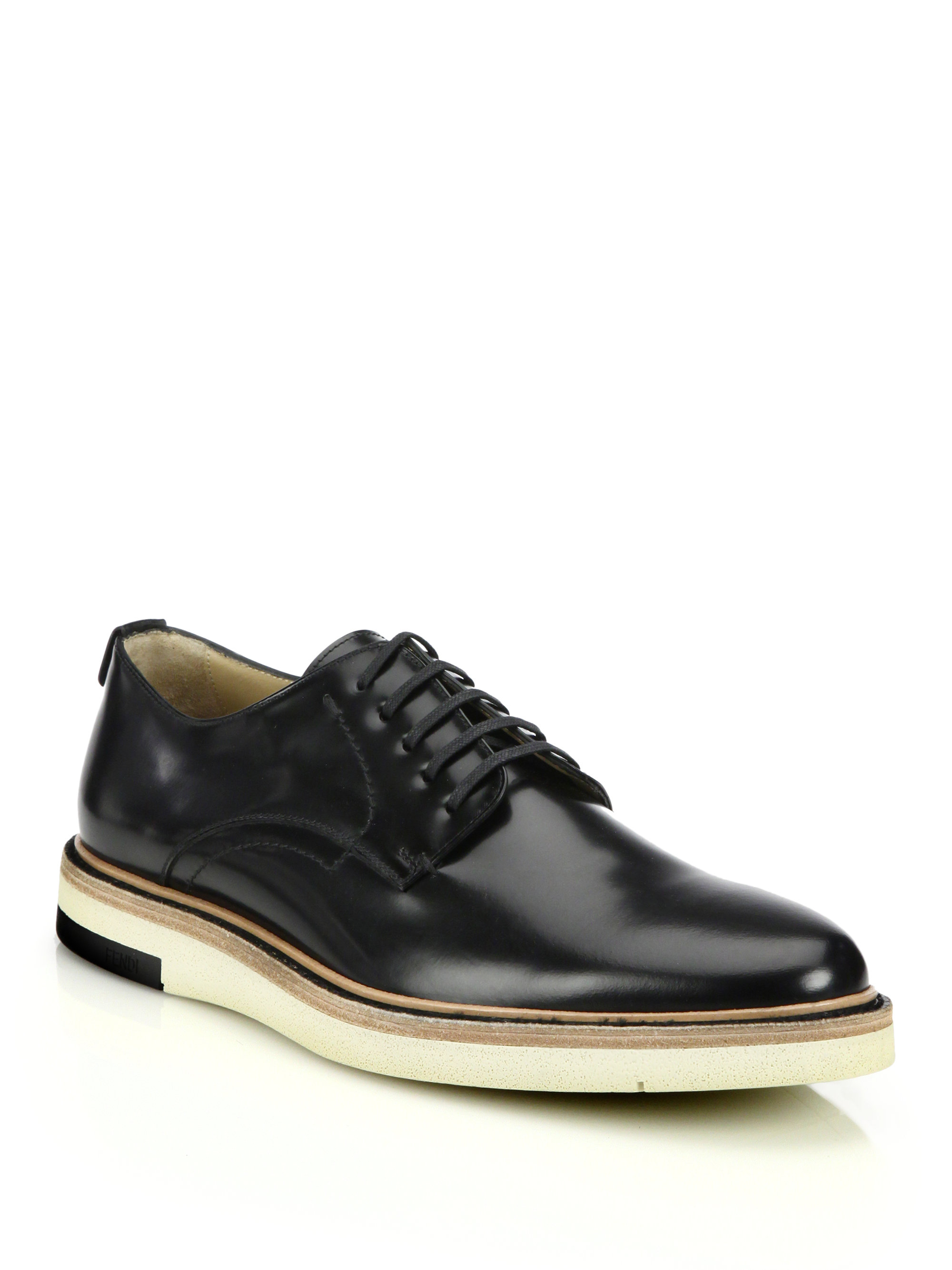 fendi leather lace up shoes in black for lyst