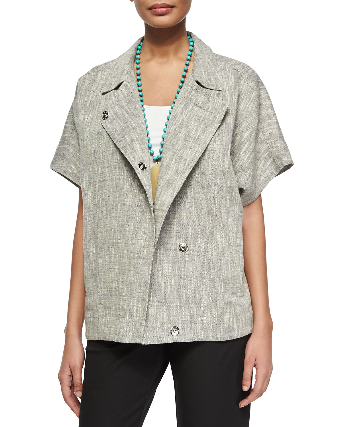 Eileen fisher Short-Sleeve Boxy Jacket in Gray | Lyst