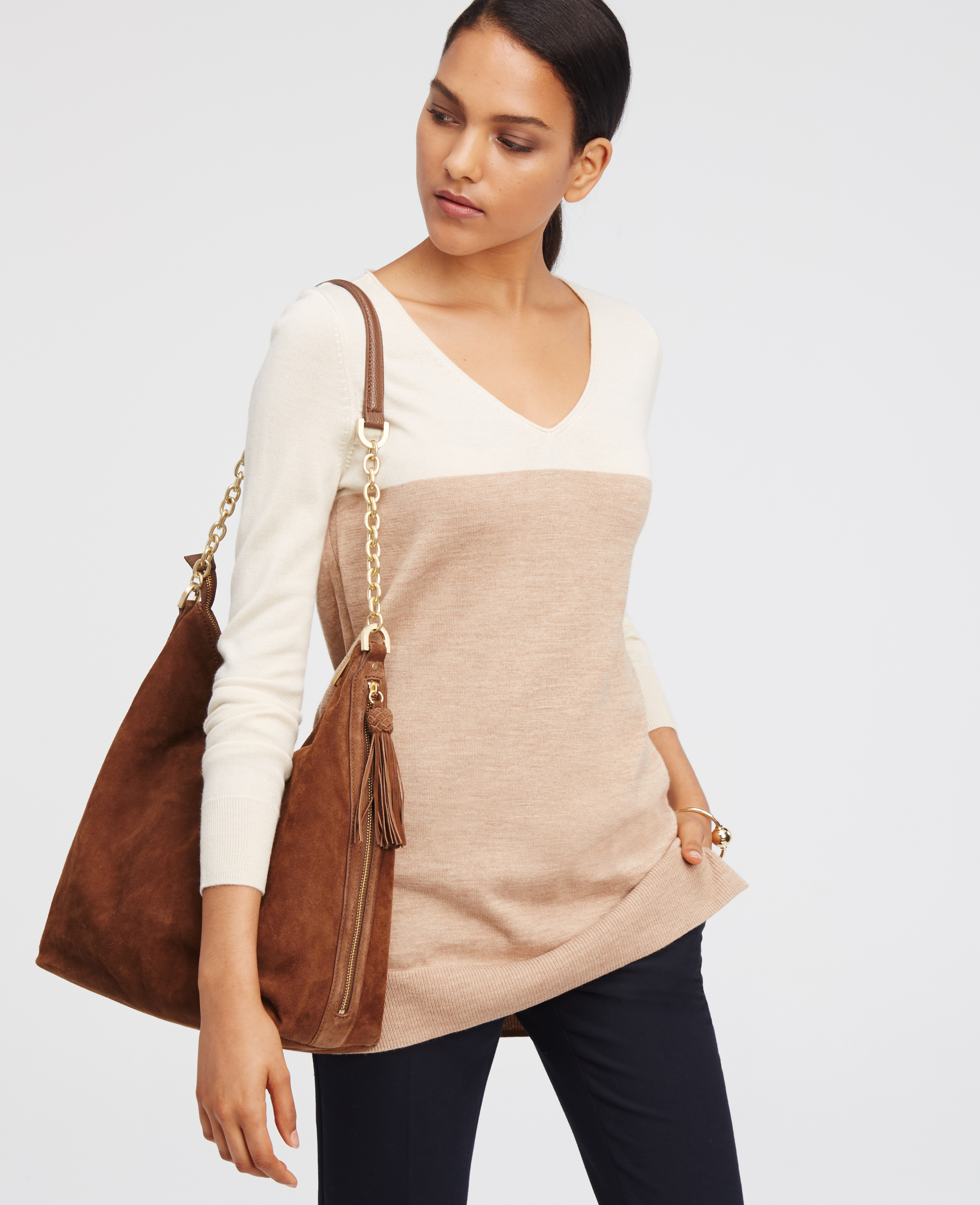 Ann taylor Colorblock V-neck Tunic Sweater in Brown | Lyst