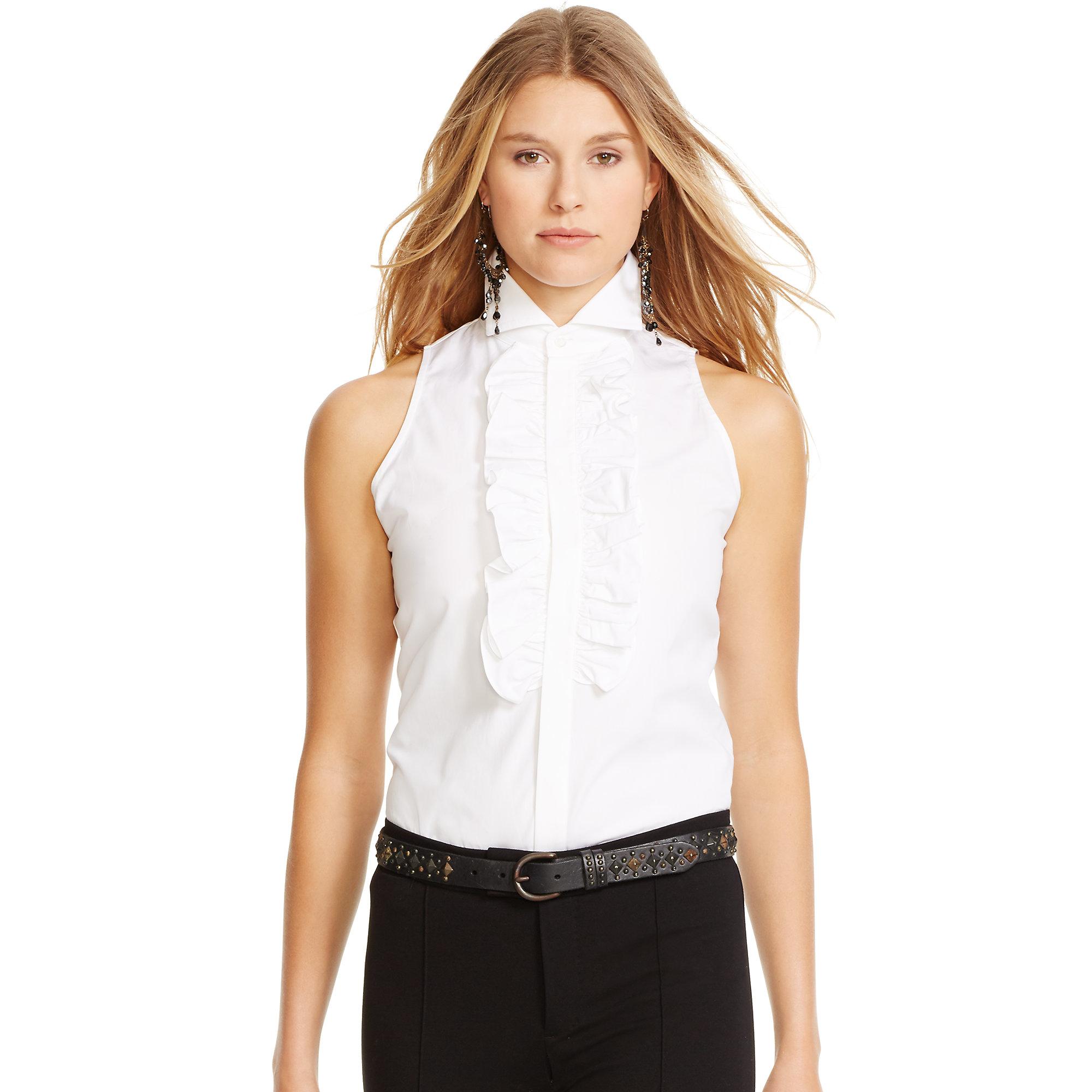 5a42fb0d758a0 Lyst - Polo Ralph Lauren Ruffled Sleeveless Shirt in White