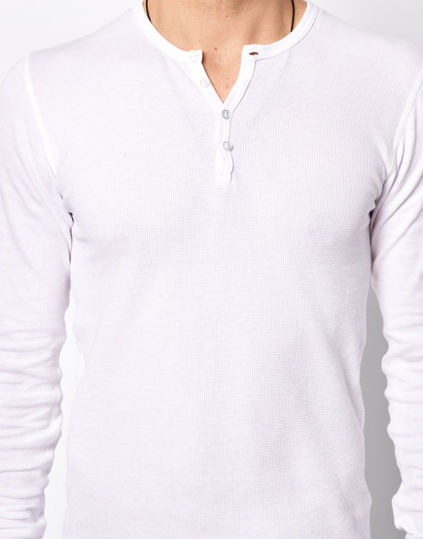 Lyst American Apparel Henley Top In White For Men