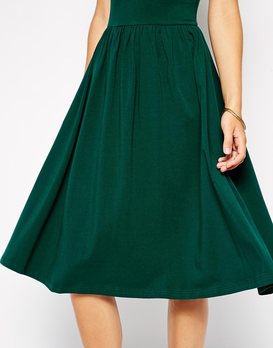 bfcd74114635 Lyst - ASOS Midi Skater Dress With Polo Neck in Green