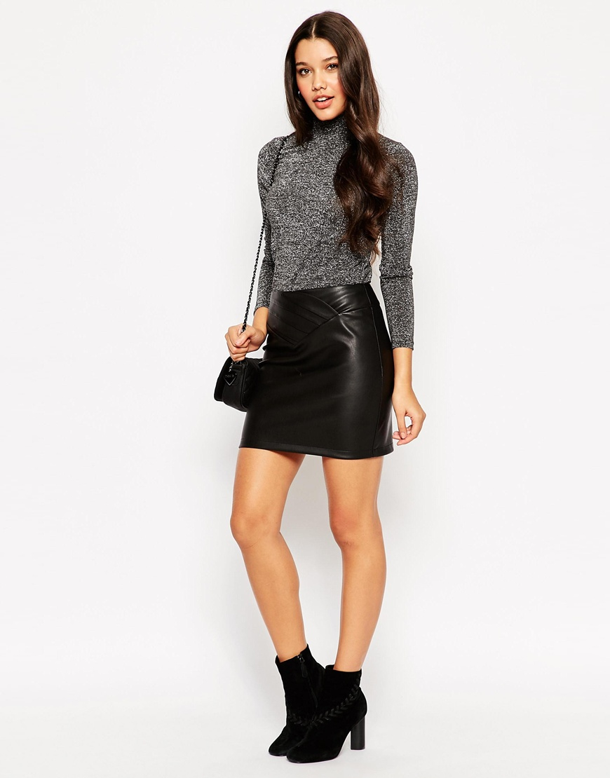 Asos Leather Look Mini Skirt With 80's Waist in Black | Lyst