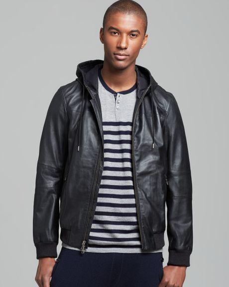 Vince Hooded Leather Jacket In Blue For Men Coastal Lyst