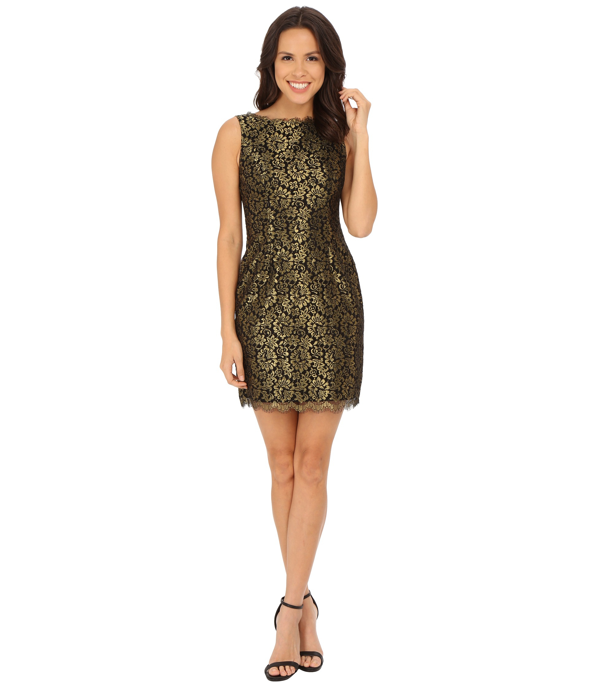 ... Sleeveless Metallic Lace Cocktail Dress in Black (Black/Gold) | Lyst