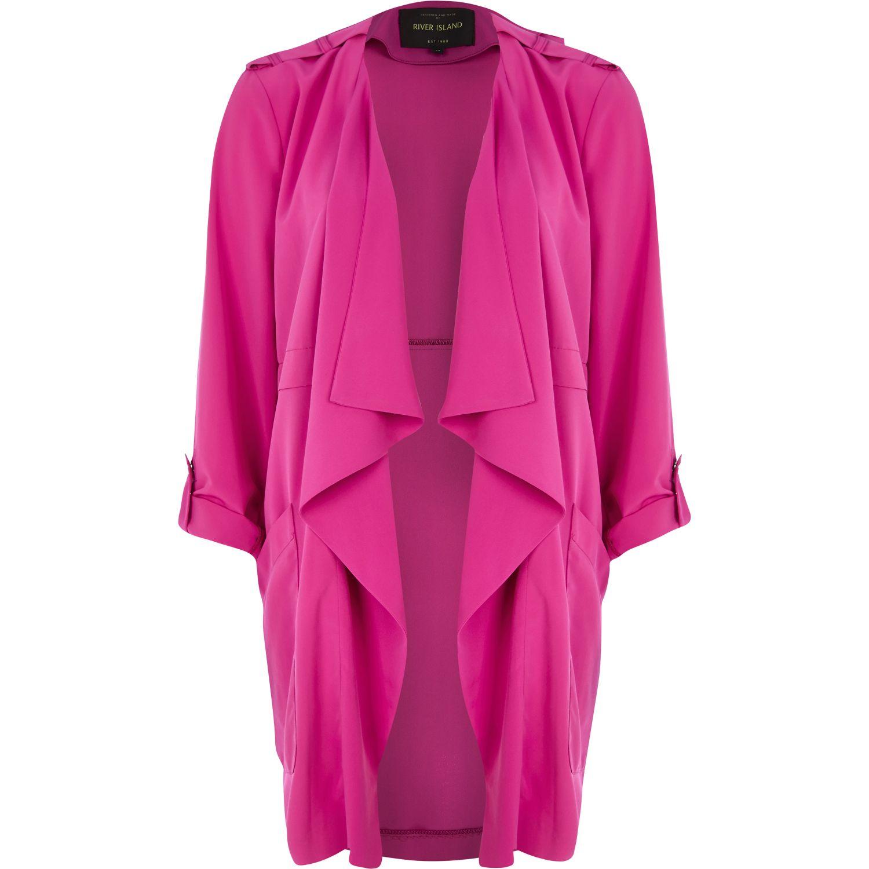 River island Dark Pink Roll Sleeve Waterfall Jacket in Pink | Lyst