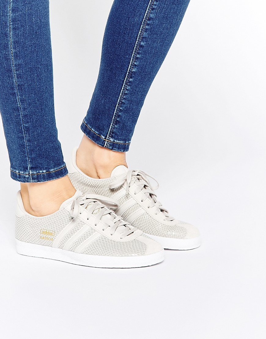 closeout adidas shoes adidas originals pastel grey and pink gazelle  trainers chalk white for womens larger image 70c67 b6c27  low price  gallery. womens ... d5556387e