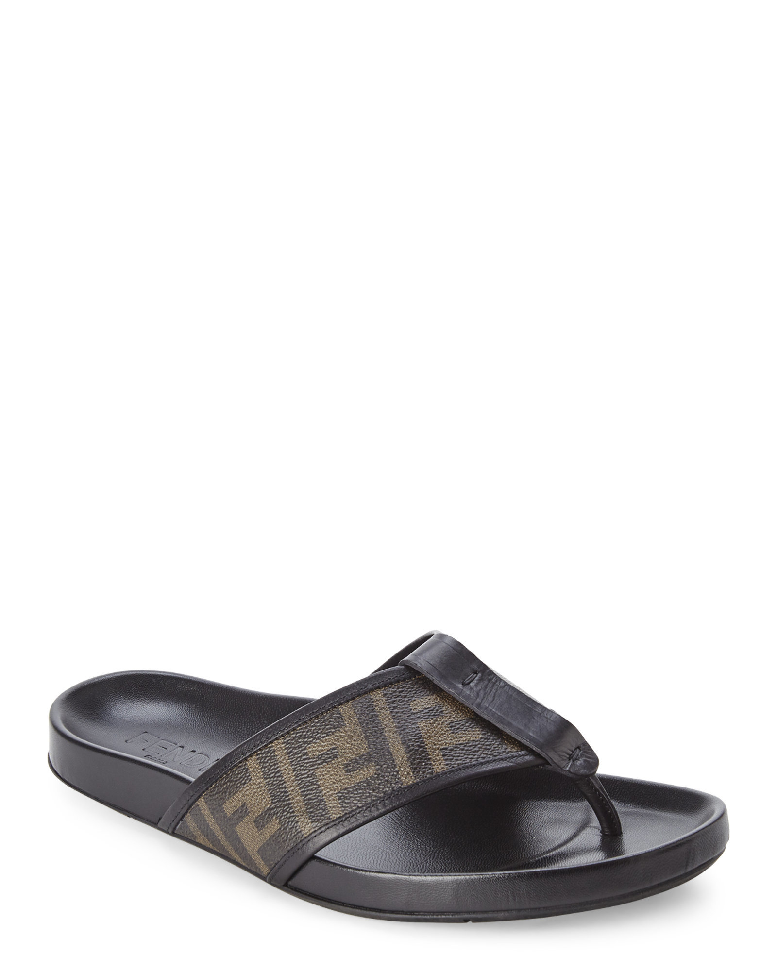 7b75008f3574 Lyst - Fendi Tobacco   Black Zucca Thong Sandals in Black for Men