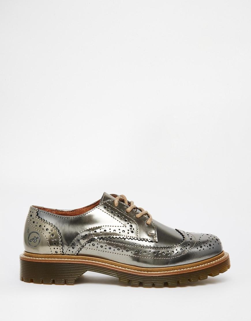 Metallic Flat Shoes With Brogue