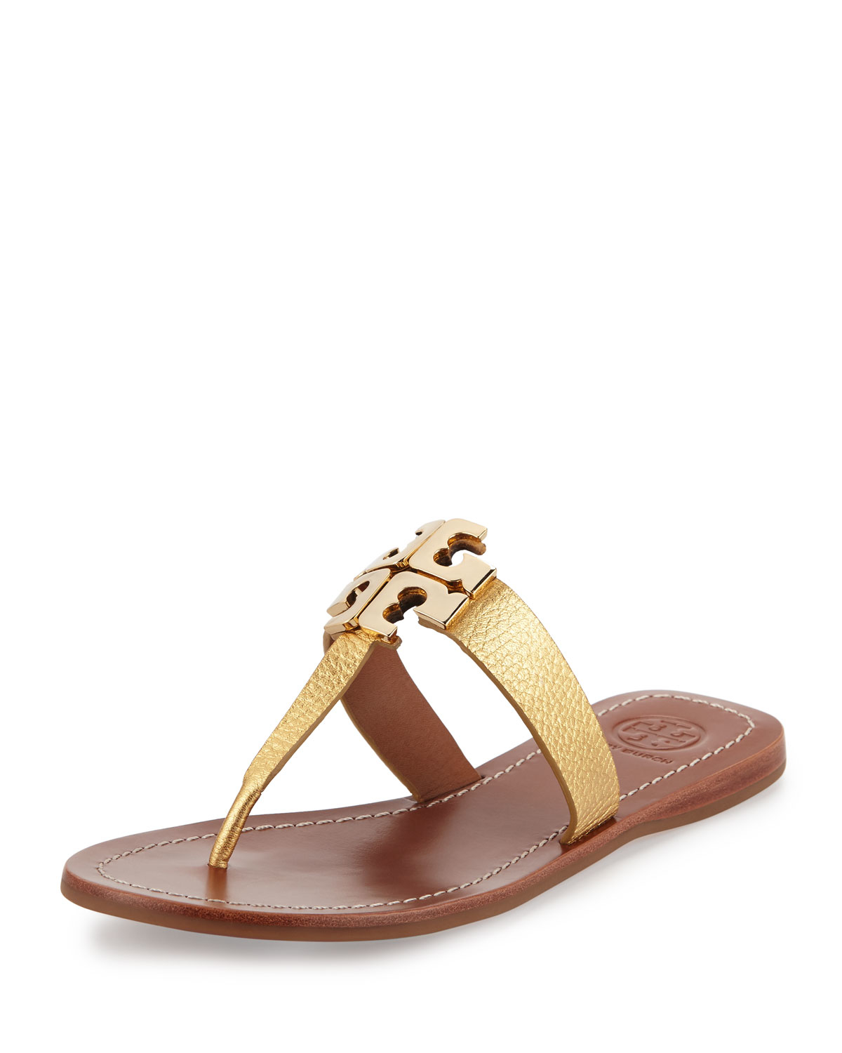 9ec524fe31e79a Lyst - Tory Burch Moore 2 Flat Leather Thong Sandal in Metallic