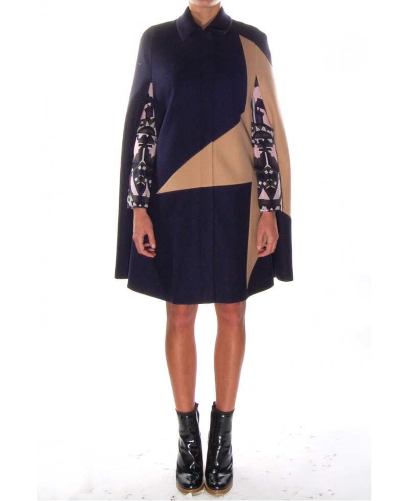 Msgm Camel And Navy Cape Coat in Blue