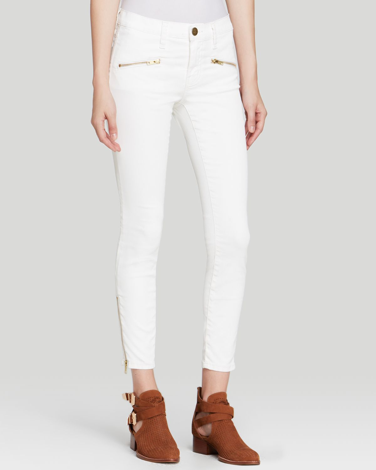Current/elliott Jeans - The Soho Zip Stiletto In Dirty White ...