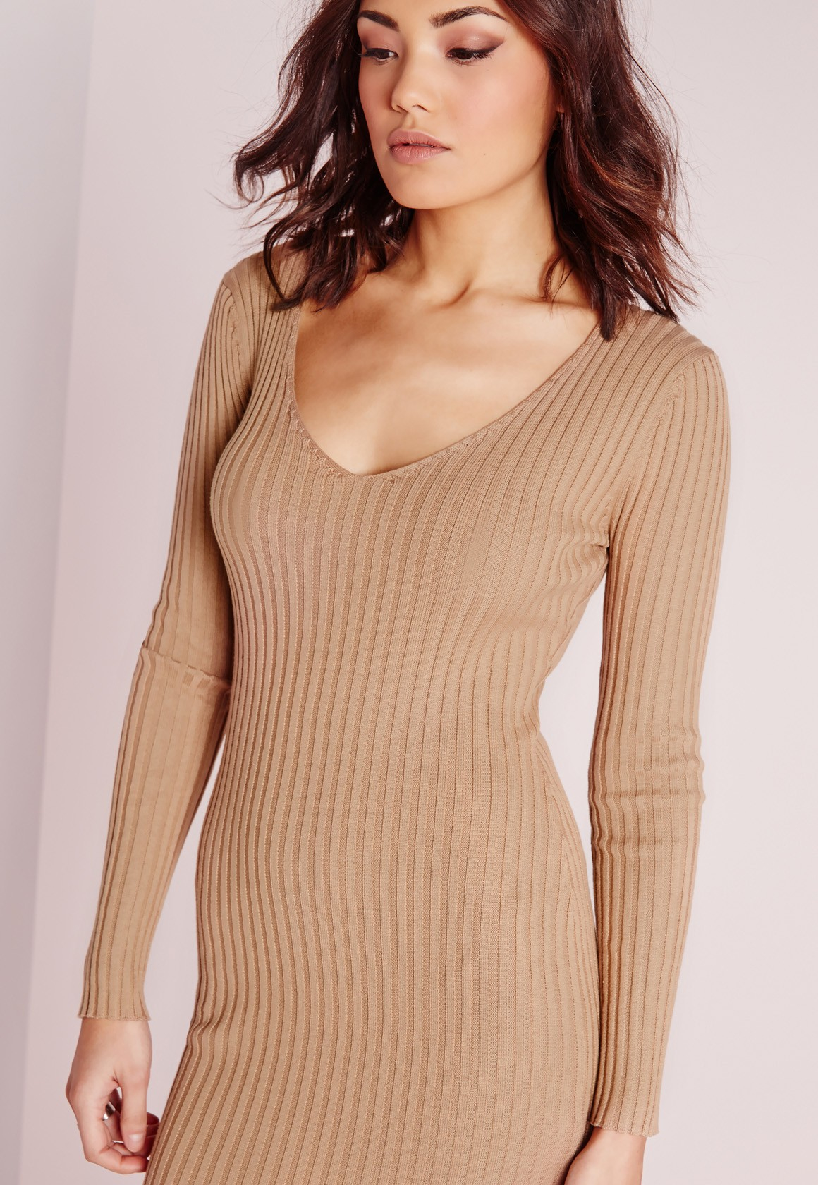 Camel long sleeve dress