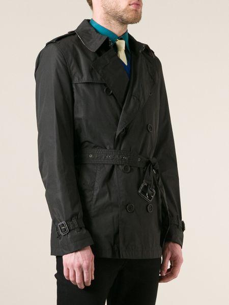 Burberry Brit Belted Mac In Black For Men Lyst