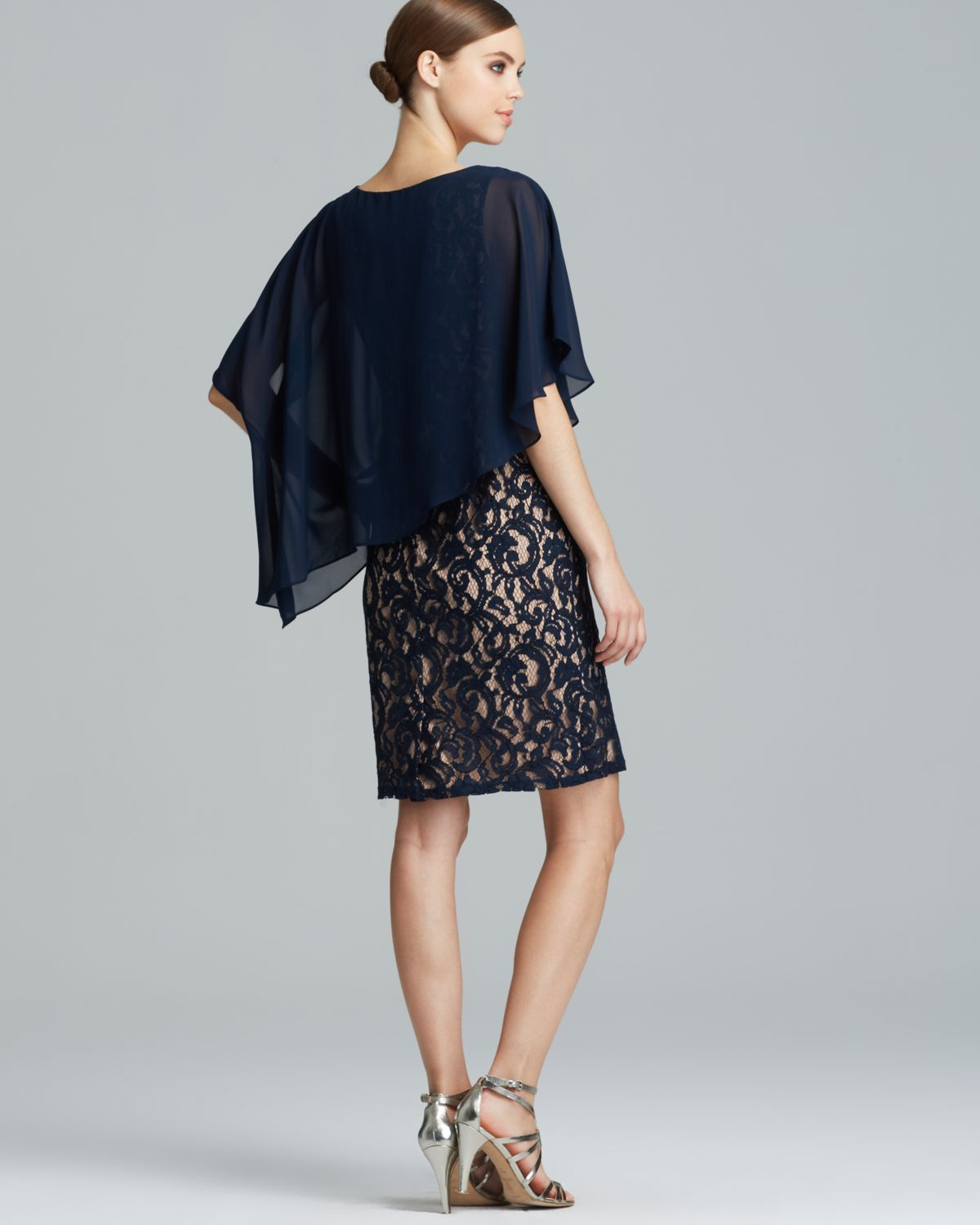 Adrianna Papell Dress Lace With Chiffon Capelet In Blue Lyst