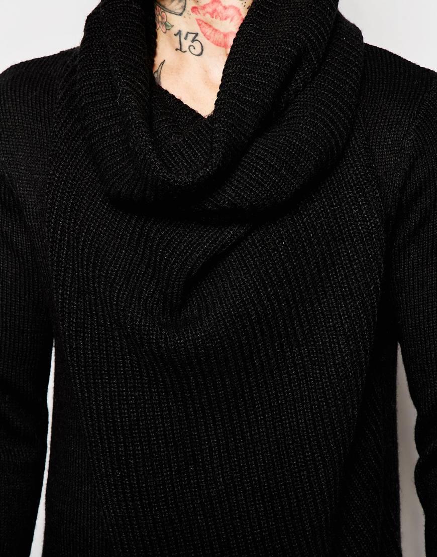 Asos Jumper With Oversized Cowl Neck in Black for Men | Lyst