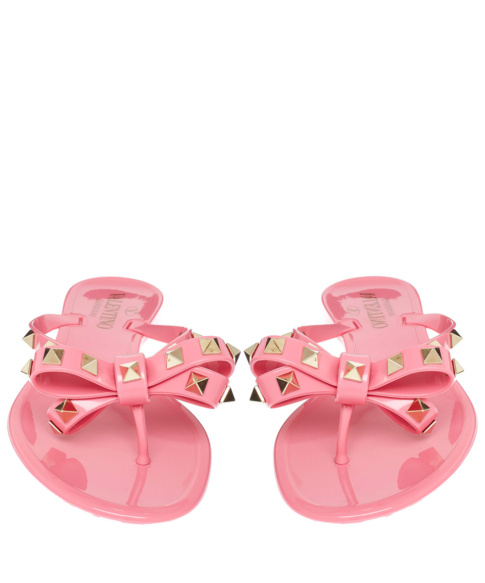 8a6c2ac19 Lyst - Valentino Pink Rockstud Bow Rubber Sandals in Pink