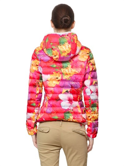 Lyst Colmar Floral Printed Light Nylon Down Jacket In Purple