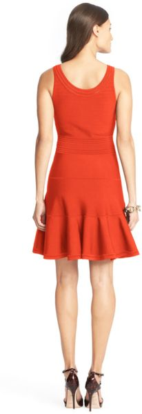 Dvf Perry Structured Flare Dress Fit and Flare Dress in Red