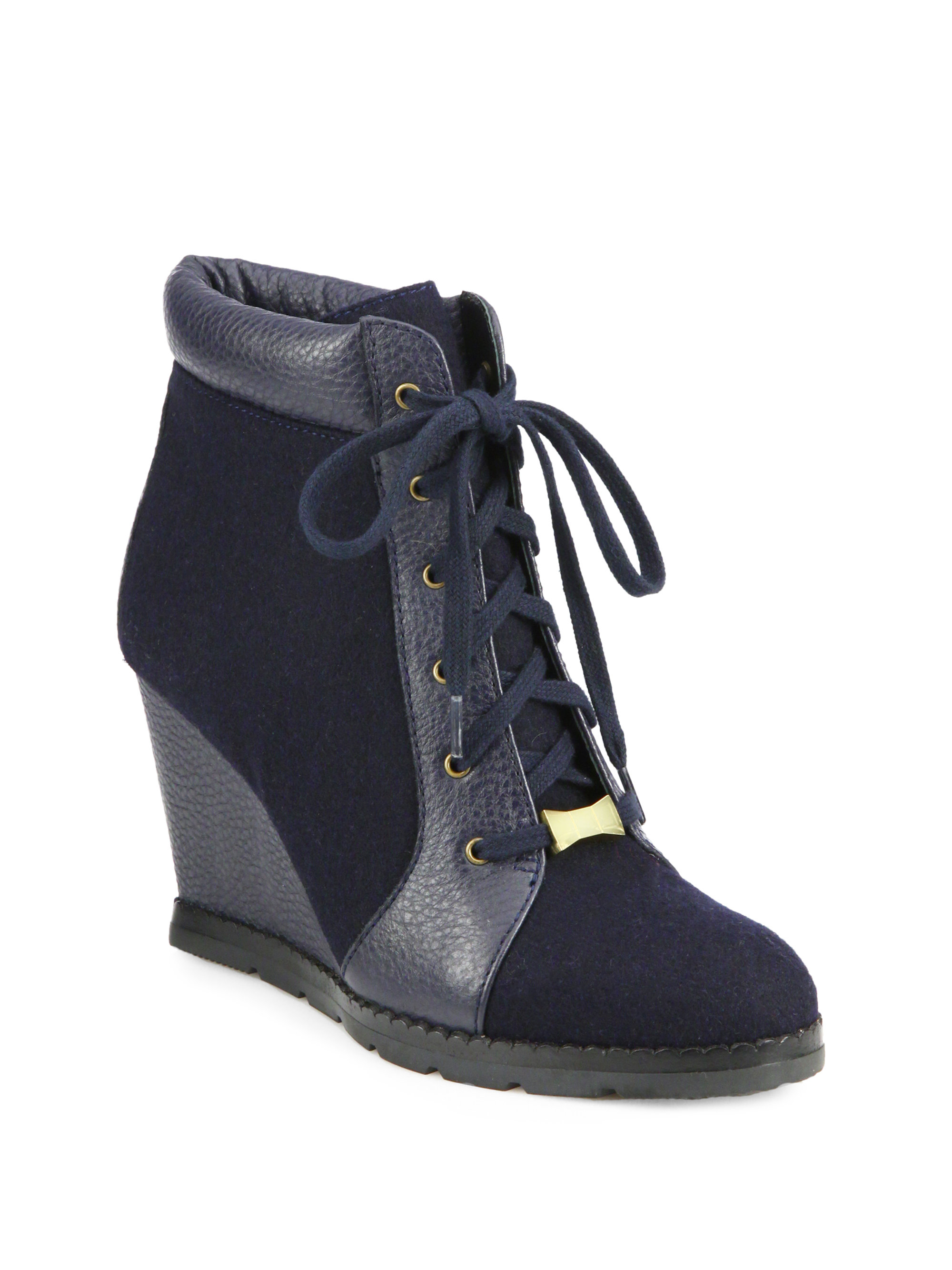 kate spade saja suede leather wedge ankle boots in blue