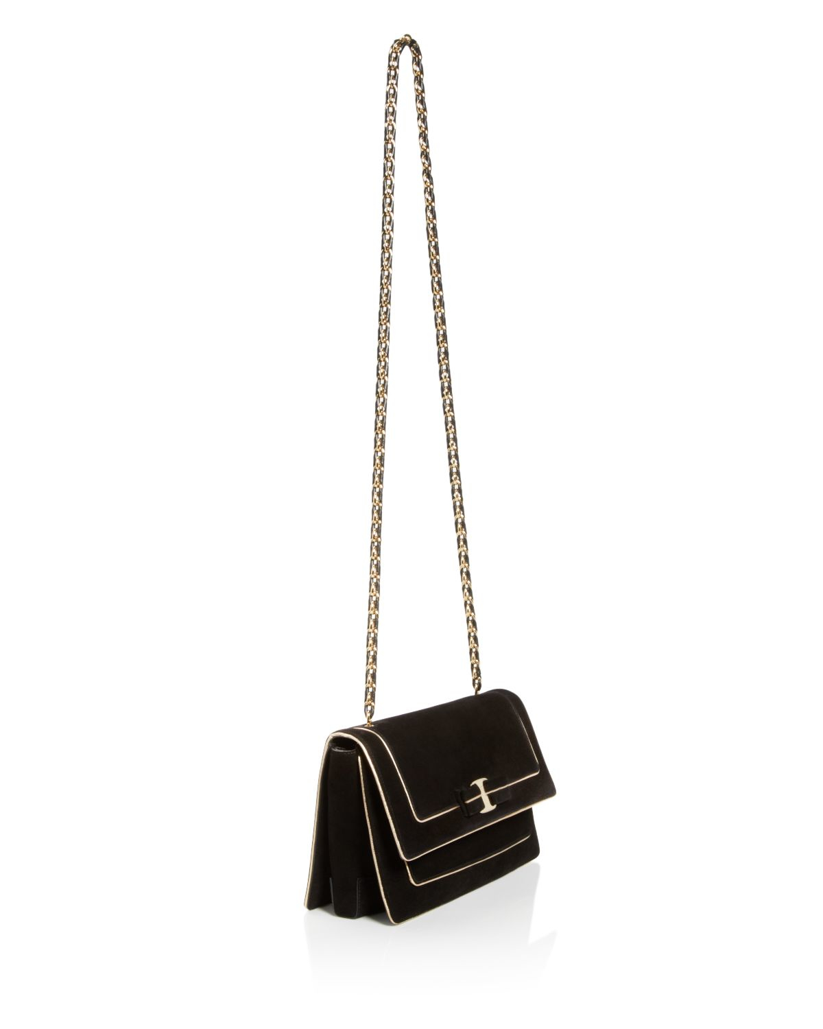 Ferragamo Ginny Suede Gold Piped Crossbody in Black (Nero ...