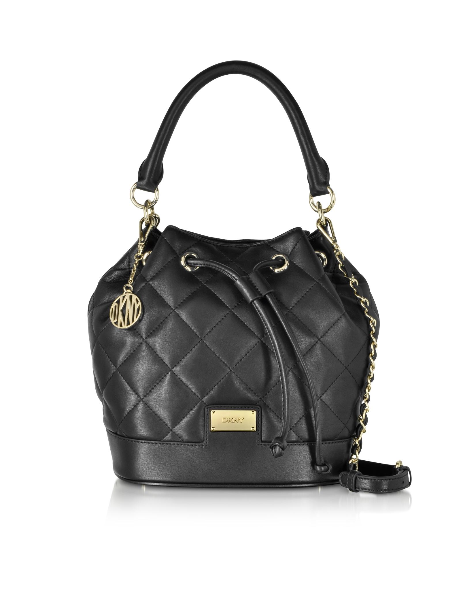 Dkny Gansevoort Black Quilted Nappa Bucket Bag in Black