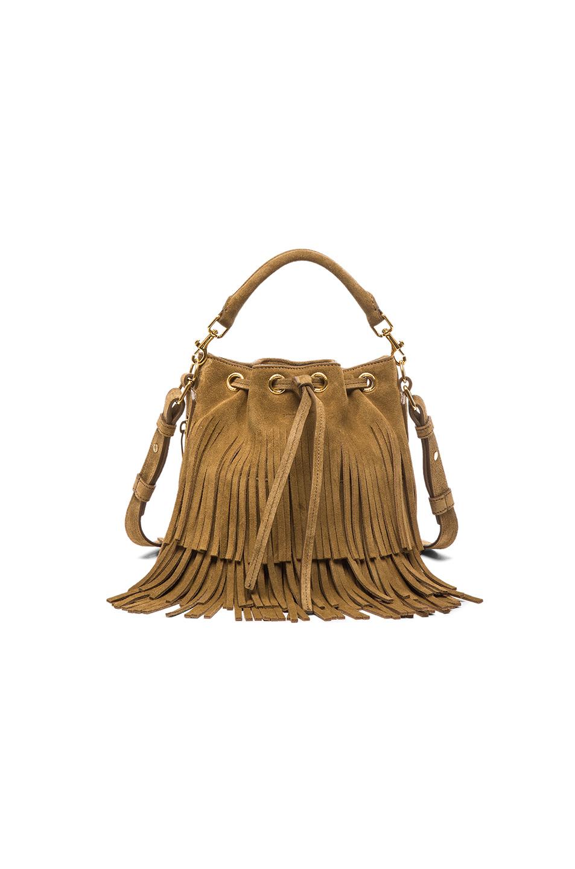 Emmanuelle Small Suede Fringe Bucket Bag Black Ysl