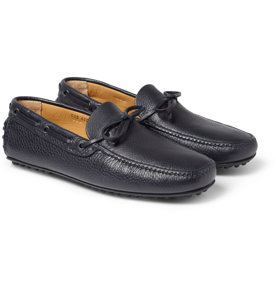 car shoe leather driving shoes in blue for lyst