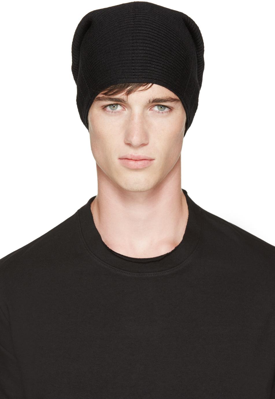 68b2ee167e00c Julius Black Knit Tube Beanie in Black for Men - Lyst